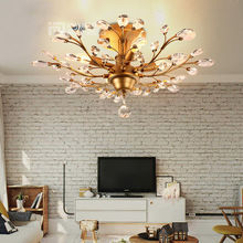 Vintage Retro Industrial E14 LED Iron Crystal Light Ceiling Lamp Droplight Chandelier Bedroom Living Room Home Hall Club Decor