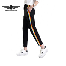 2017 Spring Fashion Casual Colorful Rainbow Side-stripe Pants Female M-2XL Loose Elastic Waist Chic Pockets Women's Pants Summer(China)