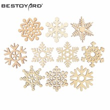 10pcs Assorted Wooden Snowflake Cutouts Craft Embellishment Snowflake Christmas Decorations For Home Merry Christmas Ornament(China)