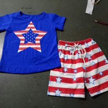 EMS DHL free shipping Wholesale New 2017 Boys 2pc Suit Stripe Star American 4th of July Flag Suit 1-6 Years Summer Style