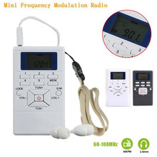 For Portable Mini Frequency Modulation FM Radio Receiver Digital LED Display Handheld Pocket Slim Radio With Earphone White/Gray