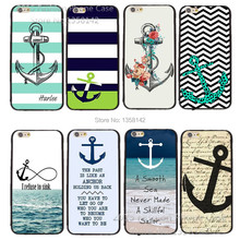 "For Apple iPhone 6 6S 4.7""  New Arrive Cartoon Cute with Stripe Anchor Print Cell Phone Hard Case Cover Free Shipping"