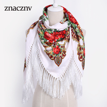 2017 Luxury Brand Winter Russian Woman Scarf Oversize size Square Print Shawl Cotton Handmade Tassel Fringe Bandana(China)