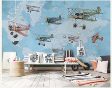 Hand-painting Vintage Airplane&Map 3d Wall Photo Cartoon Mural Wallpaper for Baby Kid Room Large Mural 3d Wall Mural Papel Mural(China)