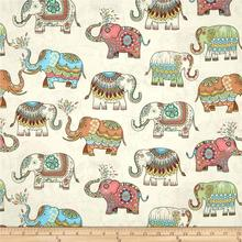 DIY vintage european style elephant printing pure cotton fabric 100*140cm/pc pre-sale(China)