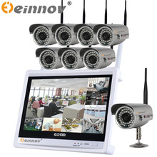 EINNoV 8ch camera 1.0 MP 2.0MP 8PCS cctv wireless camera system 12'INCH display video surveillance CCTV indoor outdoor cctv kit