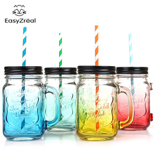 2017 Fruit Mason Jar Bottle Drink Infusion Colored Bar Coffee Water bottl Office Lover beer wine Glass jar with handle glass(China)