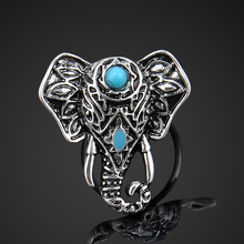 Bohemian Style Vintage Anti Silver Color Rings Elephant Lucky Rings for Women Party Adjustable Free Shipping
