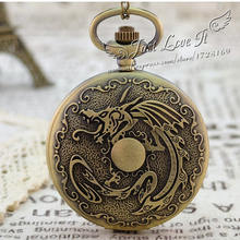 Coupon for wholesale price good quality fashion girl lady quartz new bronze Chinese dragon pocket watch necklace with chain