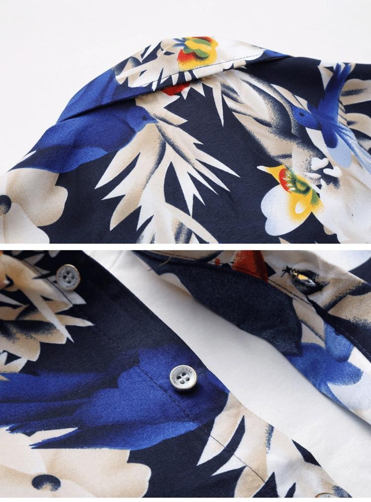 2018 Short Sleeve Mens Hawaiian Shirt Male Casual Camisa Masculina Flower Print Beach Summer Shirts Brand Clothing Men Plue Size 19