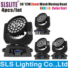 4pcs/lot slslite led wash moving head 36pcs 10w 5in1 rgbwa zoom led cheap moving head RGByW LED Moving Wash Light With Powercon