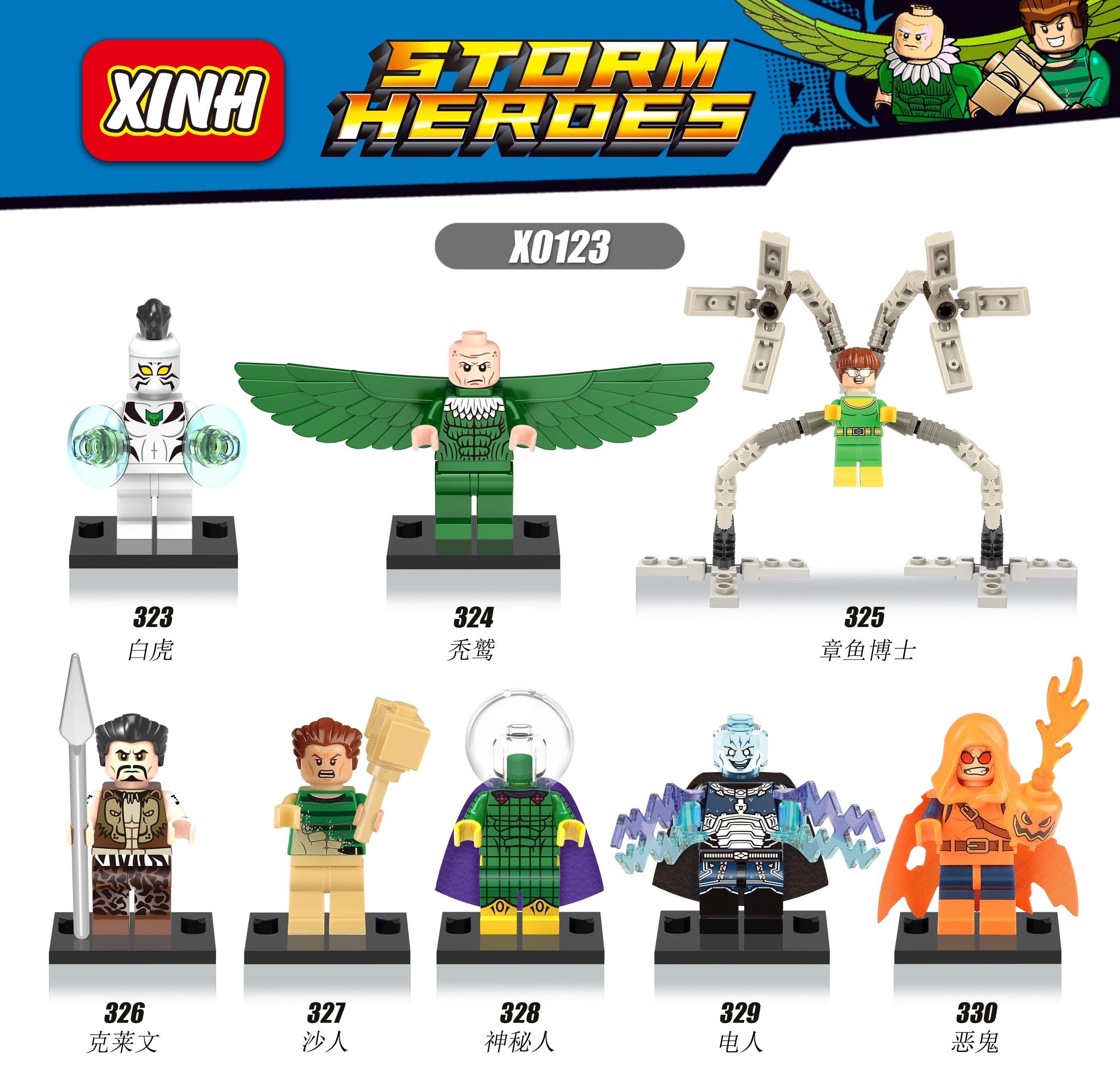 X0123 Marvel SuperHeroes Spider-Man Doctor Octopus Vulture Sandman Electro Azazel White Tiger   Building Blocks Toys<br><br>Aliexpress
