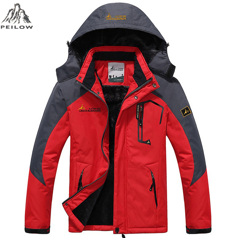 PEILOW Winter Jackets Men And Women Fashion Thick Warm fleece Removable Hooded Windproof waterproof Parka Men Coat Size M~4XL