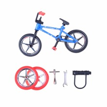 1PCS Randmonly Alloy Mini Finger Bikes Boy Toy Creative Game BMX Bike Toys Model Bicycle Fixie with Spare Tire Tools Gift(China)