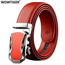 WOWTIGER Red car designer Automatic Leather belts for men Sliding Buckle Ratchet High quality alloy buckle Luxury belt(China)