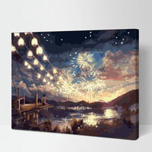 40x50cm With frame pop art DIY digital oil painting beautiful fireworks painting by numbers on canvas,wall paintings PD0013(China)