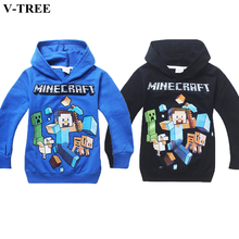V-TREE Spring Sutumn Boys Long Sleeve Shirts Minecraft T-shirt For Teenage Boy Children Hooded Tops Kids Cartoon Clothes