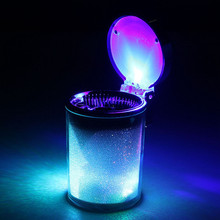 Car Ashtray Color Auto Portable Car Travel LED Light Lamp Cigarette Cylinder Ashtray Holder Cup Light Emitting Ash Cylinder Gift(China)