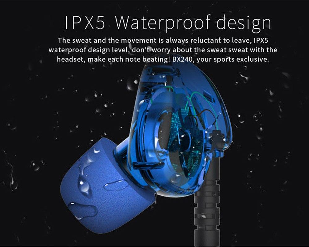 Free Shipping BX240 wireless Bluetooth 4.1 headset headphone driver element 10mm sport IPX5 waterproof earphones with Mic