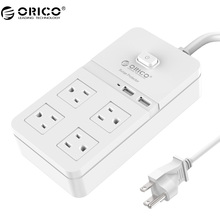 ORICO Electrical Plugs Sockets Power Strip US Plug 2 USB+4 Outlet Standard Wall Socket Extension Cable Cord Plugs