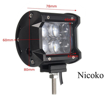 Nicoko 18W 4inch LED Work Light Bar Flood Spot Beam Offroad Van 12V 24V 4x4 4WD ATV Truck Motorcycle Boat Tractor LED Work Lamp