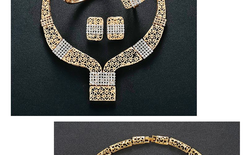 AYAYOO Dubai Jewelry Sets For Women Fashion African Beads Jewelry Set Nigerian Wedding Gold Color Necklace Set Gift (4)