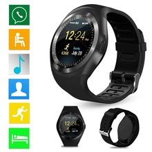 Black Smart Watch Y1 Bluetooth Smartwatch Relogios Watch 2G GSM SIM App Sync App Sync for iPhone Samsung Xiaomi Android Phone(China)