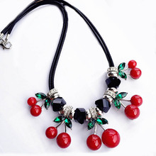 KLEEDER Cute women girls choker pendant necklace jewelry Lovely Cherry Crystal Jewel Clavicle Chain Fashion Short Chain necklace(China)