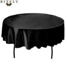 145cm Round Satin Tablecloth Table Cloth Cover Waterproof Oilproof Home Wedding Party Restaurant Banquet diy Decoration Black(China)