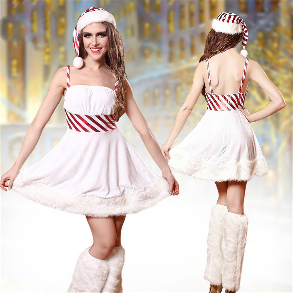 Women Sexy Snow Girl Winter Lady Snowman Costume Adult White Christmas Cosplay Dress Party Fancy Dress Female Halloween Costumes