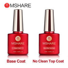 MSHARE 10ml Soak Off Base and No Wipe Top Coat UV LED Gel Nail Polish Kit Set Super Bright Cleaning Top Gel 2017 New Products(China)
