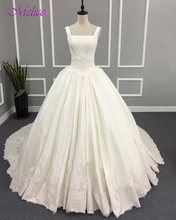 Buy Melice Glamorous Appliques Soft Satin Ball Gown Wedding Dresses 2017 Boat Neck Zipper Princess Wedding Gown Vestido de Noiva for $246.49 in AliExpress store