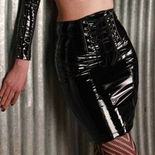 Buy Women's Sexy Black PVC Skirt European American Style PU Leather Zipper Clothing Latex Short Mini Skirts Bandage Clubwear XXL