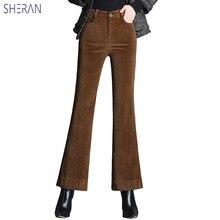 df1c8c3f7cb6 2018 Nouveau Femmes de Large Jambe Pantalons En Velours Côtelé Taille Haute  Pantalon Flare Pantalon Casual