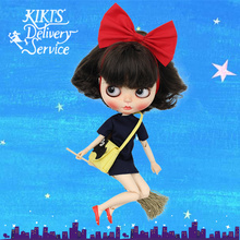 Kiki's Delivery Service Outfits for Blyth doll dress with hairband broom,bag and shoes suit for the 1/6 30cm Doll ICY(China)