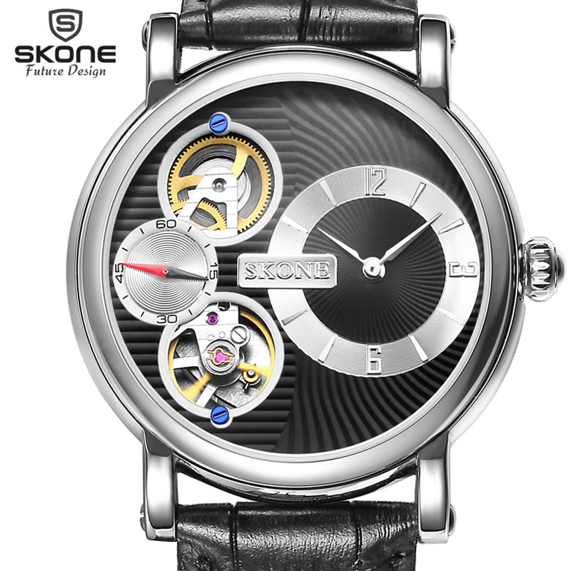 SKONE Dual Movement Automatic Mechanical Watches Men Luxury Brand Genuine Leather Watch Mechanical SelfWind Quartz reloj hombre<br>