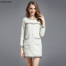 KoHuiJoo 2017 Autumn Winter Wool Tweed Dress Women O Neck Slim Casual Long Sleeve Vntage Short Wooenl Dresses Lady Beige