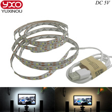 Free shipping 5V USB Cable LED strip light lamp SMD3528 50cm 1m 2m Christmas Flexible led Stripe Lights TV Background Lighting