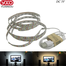 Free shipping 5V USB Cable LED strip light lamp SMD3528 50cm 1m 2m Christmas Flexible led Stripe Lights TV Background Lighting(China)