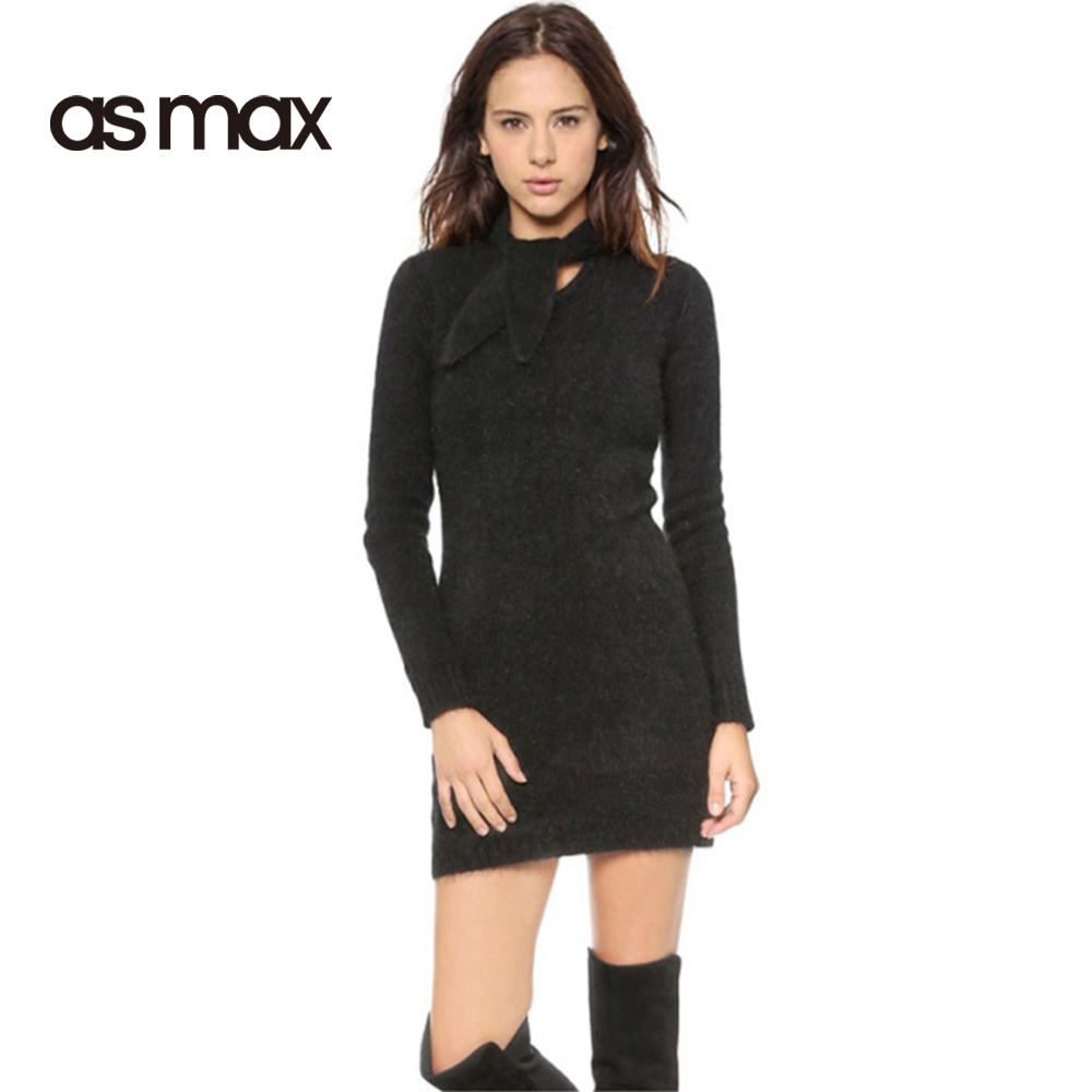 asmax Solid Black Women Dress Crew Neck Long Sleeve Elegent Vestidos Bow Sexy Vintage Bodycon Knitted Mini DressÎäåæäà è àêñåññóàðû<br><br>