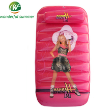 90*50*20cm Red Cartoon Girl Princess Pool Floating Row Swim Raft Children Inflatable Borad Bed With Pillow Kids Air Mattress PVC