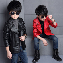 Teenager Boys pu Leather Jacket Boys Casual Black Coats Solid Children Outerwear Kids Girls Spring Leather Jackets for 110-160cm(China)