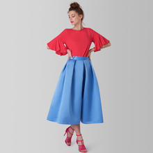 Ice Blue Tea Length Satin Skirts Women Custom Made Zipper Satin Adult Skirt England Style Female Adult Skirt High Quality