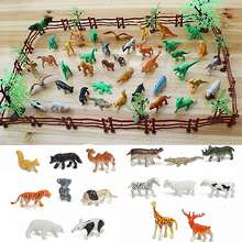 Funny 68PCS/set Plastic Farm Yard Wild Fence Tree Animals Model Kids Toys Figures Play Set Toys For Children Kids Adult
