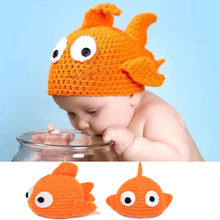 Lovely Crochet Gold Fish Baby Photo Props Crochet baby hat Knitted Baby Animal Hat Beanie Photography Props MZS-14098(China)