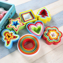 7 shapes plastic Cookies cutter slicer tools frame cake mold,heart shape cutter cookies rice balls maker kitchen accessories