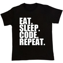 Printed T Shirts Men'S Best Friend O-Neck Eat. Sleep. Code. Repeat. Geek Coding Computer Programmer Short-Sleeve Shirts(China)