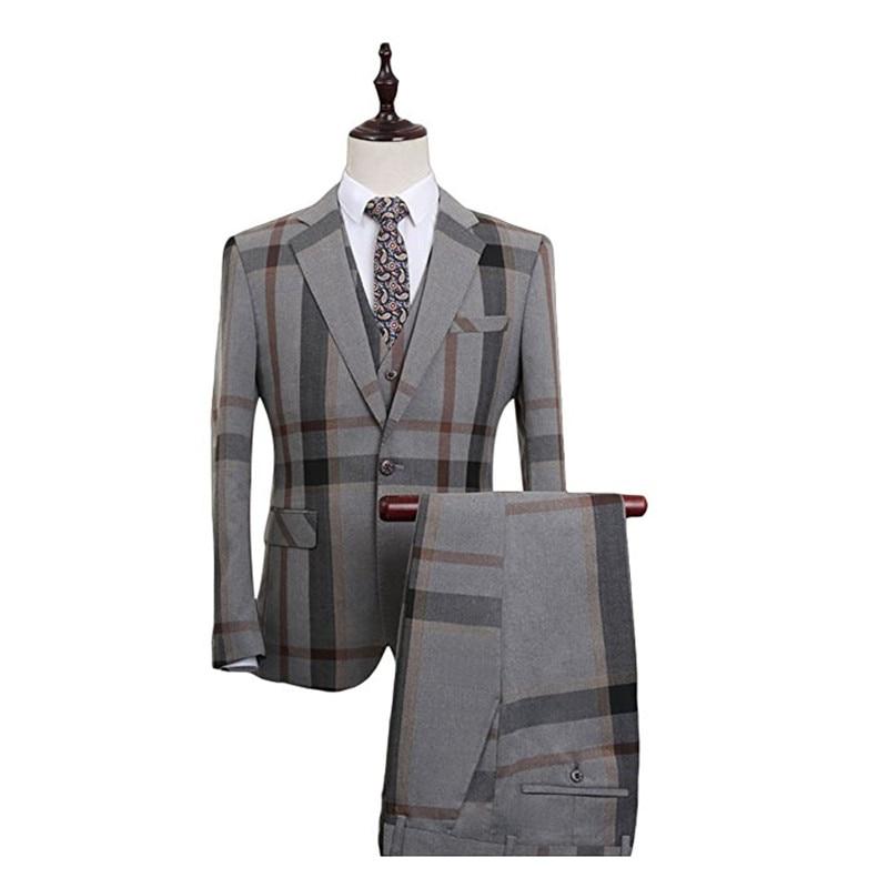 HTB1mgy6SFXXXXXYaXXXq6xXFXXXK - YFFUSHI Men Suit With Pants 2 Pieces Classic Grey Navy Plaid Tuxedo Business Casual Grooms Wedding Suits for Men Plus 6XL