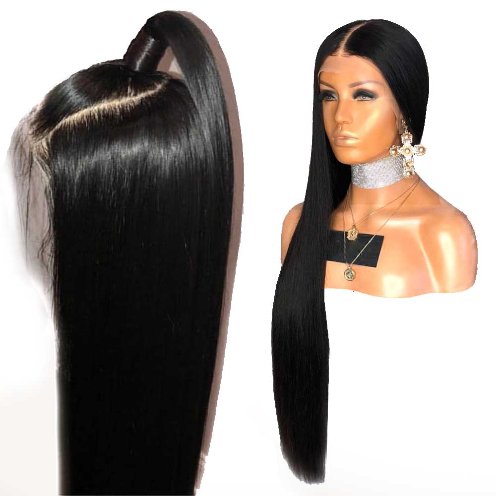 13X6 Lace Front Wig 250% Density Straight 360 Frontal Lace Human Hair Wigs Brazilian Remy Full Ends Pre Plucked For Black Women(China)