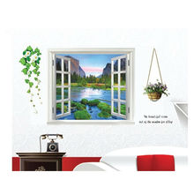 Window Wall Sticker Quality PVC Removable Beautiful Views Decal Wall art Mural Mountain Water & Tree-Lined Trail 3D Wall Sticker(China)